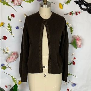 Michael Kors Cashmere button front brown cardigan
